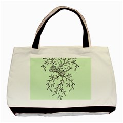 Illustration Of Butterflies And Flowers Ornament On Green Background Basic Tote Bag