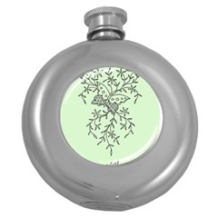 Illustration Of Butterflies And Flowers Ornament On Green Background Round Hip Flask (5 Oz)