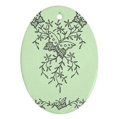 Illustration Of Butterflies And Flowers Ornament On Green Background Oval Ornament (Two Sides)