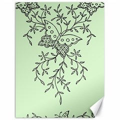 Illustration Of Butterflies And Flowers Ornament On Green Background Canvas 18  X 24