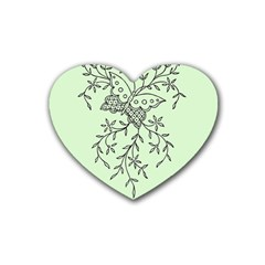 Illustration Of Butterflies And Flowers Ornament On Green Background Rubber Coaster (Heart)