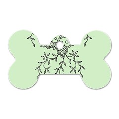 Illustration Of Butterflies And Flowers Ornament On Green Background Dog Tag Bone (one Side)