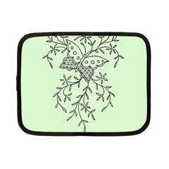 Illustration Of Butterflies And Flowers Ornament On Green Background Netbook Case (Small)