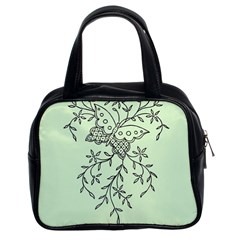 Illustration Of Butterflies And Flowers Ornament On Green Background Classic Handbags (2 Sides)