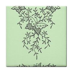 Illustration Of Butterflies And Flowers Ornament On Green Background Face Towel