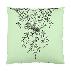 Illustration Of Butterflies And Flowers Ornament On Green Background Standard Cushion Case (one Side)