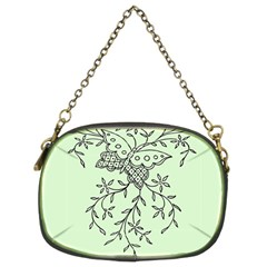 Illustration Of Butterflies And Flowers Ornament On Green Background Chain Purses (Two Sides)