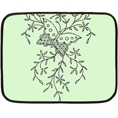 Illustration Of Butterflies And Flowers Ornament On Green Background Fleece Blanket (Mini)