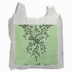 Illustration Of Butterflies And Flowers Ornament On Green Background Recycle Bag (two Side)