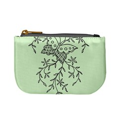 Illustration Of Butterflies And Flowers Ornament On Green Background Mini Coin Purses
