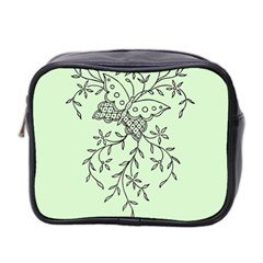 Illustration Of Butterflies And Flowers Ornament On Green Background Mini Toiletries Bag 2-Side