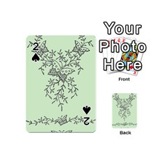 Illustration Of Butterflies And Flowers Ornament On Green Background Playing Cards 54 (Mini)