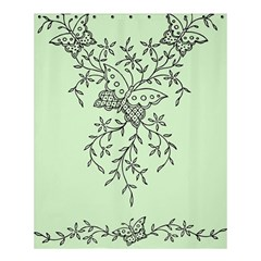 Illustration Of Butterflies And Flowers Ornament On Green Background Shower Curtain 60  x 72  (Medium)