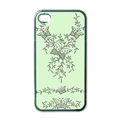 Illustration Of Butterflies And Flowers Ornament On Green Background Apple Iphone 4 Case (black)