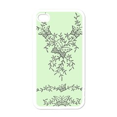 Illustration Of Butterflies And Flowers Ornament On Green Background Apple iPhone 4 Case (White)