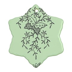 Illustration Of Butterflies And Flowers Ornament On Green Background Snowflake Ornament (two Sides)