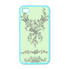 Illustration Of Butterflies And Flowers Ornament On Green Background Apple Iphone 4 Case (color)