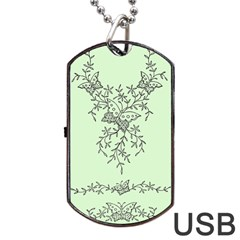 Illustration Of Butterflies And Flowers Ornament On Green Background Dog Tag Usb Flash (one Side)