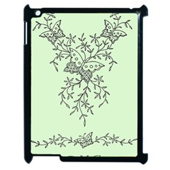 Illustration Of Butterflies And Flowers Ornament On Green Background Apple iPad 2 Case (Black)