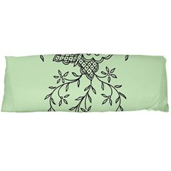 Illustration Of Butterflies And Flowers Ornament On Green Background Body Pillow Case Dakimakura (Two Sides)