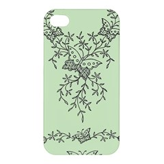 Illustration Of Butterflies And Flowers Ornament On Green Background Apple Iphone 4/4s Premium Hardshell Case
