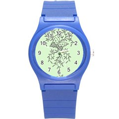 Illustration Of Butterflies And Flowers Ornament On Green Background Round Plastic Sport Watch (S)