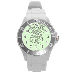 Illustration Of Butterflies And Flowers Ornament On Green Background Round Plastic Sport Watch (L)