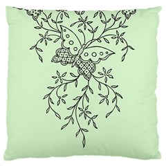 Illustration Of Butterflies And Flowers Ornament On Green Background Large Cushion Case (two Sides)