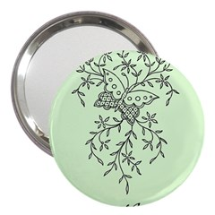 Illustration Of Butterflies And Flowers Ornament On Green Background 3  Handbag Mirrors