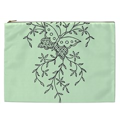 Illustration Of Butterflies And Flowers Ornament On Green Background Cosmetic Bag (XXL)