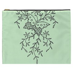 Illustration Of Butterflies And Flowers Ornament On Green Background Cosmetic Bag (XXXL)
