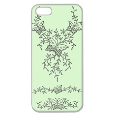 Illustration Of Butterflies And Flowers Ornament On Green Background Apple Seamless Iphone 5 Case (clear)