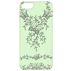 Illustration Of Butterflies And Flowers Ornament On Green Background Apple iPhone 5 Classic Hardshell Case