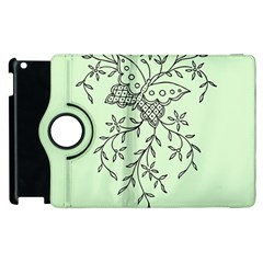 Illustration Of Butterflies And Flowers Ornament On Green Background Apple iPad 3/4 Flip 360 Case