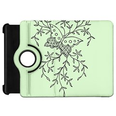 Illustration Of Butterflies And Flowers Ornament On Green Background Kindle Fire Hd 7