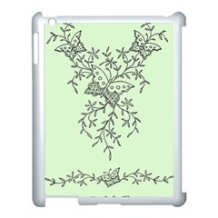 Illustration Of Butterflies And Flowers Ornament On Green Background Apple Ipad 3/4 Case (white)
