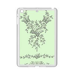 Illustration Of Butterflies And Flowers Ornament On Green Background Ipad Mini 2 Enamel Coated Cases