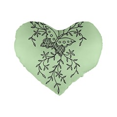 Illustration Of Butterflies And Flowers Ornament On Green Background Standard 16  Premium Heart Shape Cushions
