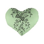 Illustration Of Butterflies And Flowers Ornament On Green Background Standard 16  Premium Heart Shape Cushions Back