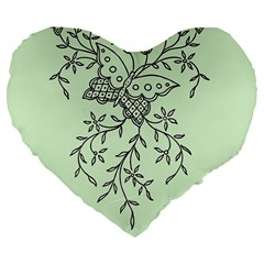 Illustration Of Butterflies And Flowers Ornament On Green Background Large 19  Premium Heart Shape Cushions