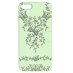 Illustration Of Butterflies And Flowers Ornament On Green Background Apple Iphone 5 Hardshell Case With Stand