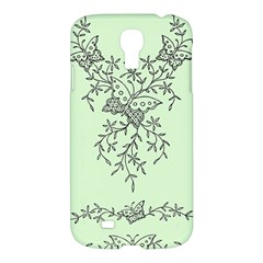 Illustration Of Butterflies And Flowers Ornament On Green Background Samsung Galaxy S4 I9500/I9505 Hardshell Case