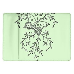 Illustration Of Butterflies And Flowers Ornament On Green Background Samsung Galaxy Tab 10 1  P7500 Flip Case