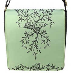 Illustration Of Butterflies And Flowers Ornament On Green Background Flap Messenger Bag (s)
