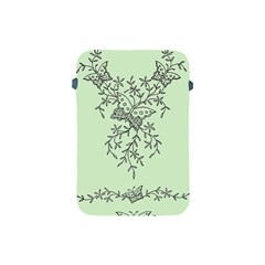 Illustration Of Butterflies And Flowers Ornament On Green Background Apple iPad Mini Protective Soft Cases