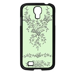 Illustration Of Butterflies And Flowers Ornament On Green Background Samsung Galaxy S4 I9500/ I9505 Case (Black)