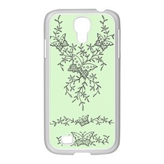 Illustration Of Butterflies And Flowers Ornament On Green Background Samsung Galaxy S4 I9500/ I9505 Case (white)