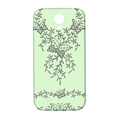 Illustration Of Butterflies And Flowers Ornament On Green Background Samsung Galaxy S4 I9500/i9505  Hardshell Back Case