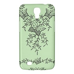 Illustration Of Butterflies And Flowers Ornament On Green Background Samsung Galaxy Mega 6.3  I9200 Hardshell Case