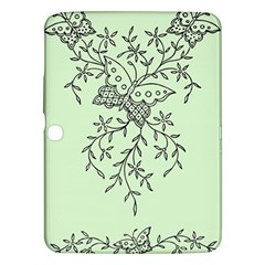 Illustration Of Butterflies And Flowers Ornament On Green Background Samsung Galaxy Tab 3 (10.1 ) P5200 Hardshell Case